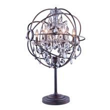 Geneva 6 light Dark Bronze Table Lamp Silver Shade (Grey) Royal Cut crystal