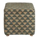 Woven Pouf Ottoman in Navy Beige Triangle Pattern Product Image