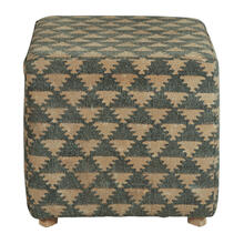 Woven Pouf Ottoman in Navy Beige Triangle Pattern