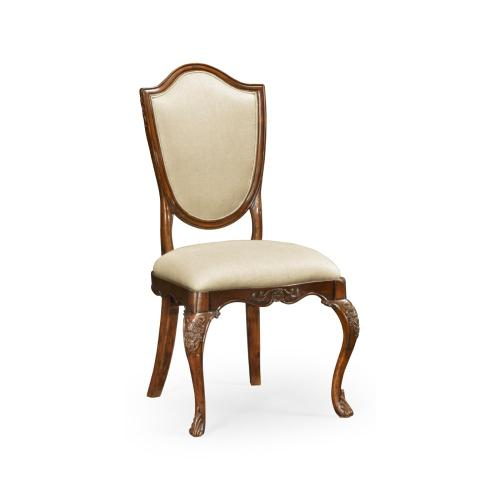 Shield back mahogany side chair with medium antique uhpholstered in MAZO
