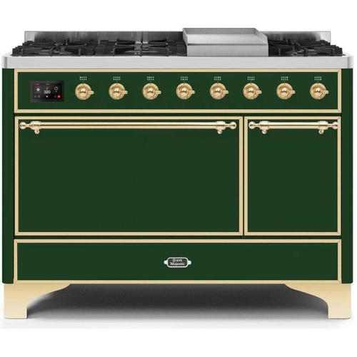 Majestic II 48 Inch Dual Fuel Natural Gas Freestanding Range in Emerald Green with Brass Trim