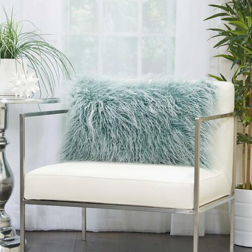 "Faux Fur Bj101 Celadon 14"" X 24"" Lumbar Pillow"