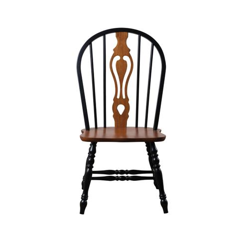 """Keyhole Dining Chair - Antique Black with Cherry Seat (41"""")"""