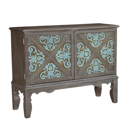 Traditional Decorative Boot Uppers Inspired Two Door Accent Bar Cabinet