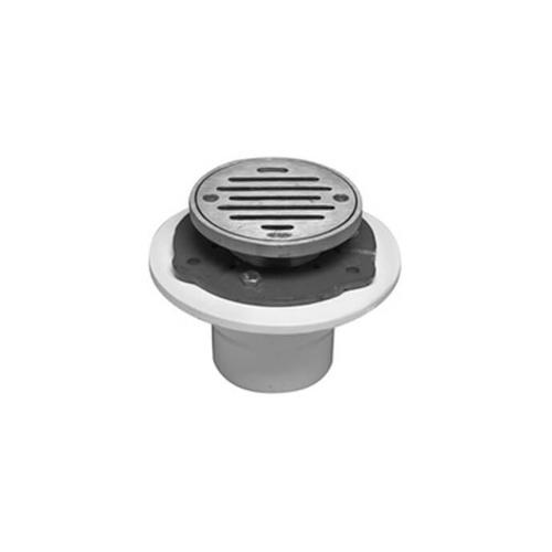 """Mountain Plumbing - 4"""" Round Complete Shower Drain - PVC - Polished Chrome"""