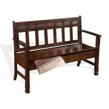 See Details - Santa Fe Bench w/ Storage & Wood Seat
