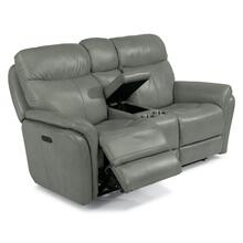 Zoey Power Reclining Loveseat with Console & Power Headrests