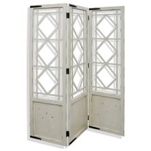 Distressed White  72in x 57in Traditonal Wood Floor Screen with Metal Hardware