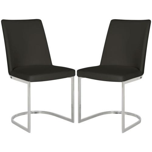 Parkston 18''h Leather Side Chair - Black / Chrome