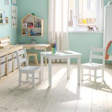 See Details - Kids Solid Hardwood Table and Chair Set for Playroom, Bedroom, Kitchen - 3 Piece Set - White