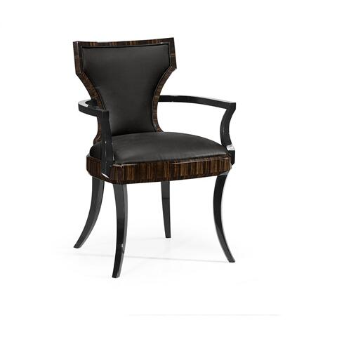 Full Back Art Deco Macassar Ebony High Lustre Dining Arm Chair, Upholstered in Dark Chocolate Leather