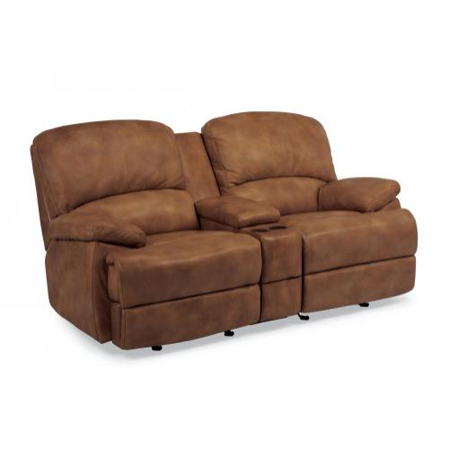 Product Image - Dylan Leather Gliding Reclining Loveseat with Console and Chaise Footrests