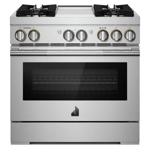 """NOIR™ 48"""" Dual-Fuel Professional-Style Range with Chrome-Infused Griddle and Steam Assist"""