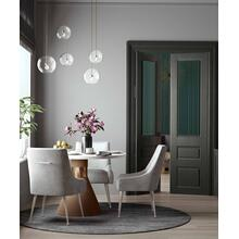 View Product - Beatrix Pleated Light Grey Velvet Side Chair - Silver Legs