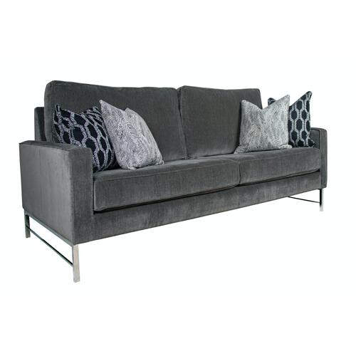 """Contemparary style track arm sofa. Shown with 8"""" Plinth base. Also available with 8"""" Tapered round, 8"""" Pyramid, or 8"""" Square tube legs."""
