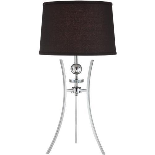 Table Lamp, Chrome/black Fabric Shade, E27 Cfl 23w