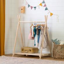 Wooden Scandinavian Clothes Rack for Kids - Natural Pine