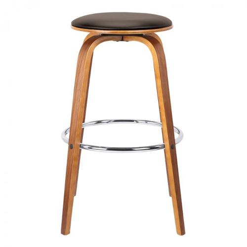 """Armen Living Harbor 30"""" Mid-Century Swivel Bar Height Backless Barstool in Brown Faux Leather with Walnut Veneer"""