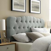 Annabel Queen Upholstered Fabric Headboard in Gray