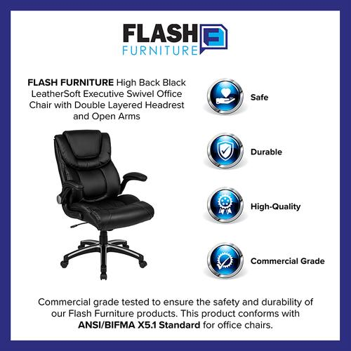 Gallery - High Back Black LeatherSoft Executive Swivel Office Chair with Double Layered Headrest and Open Arms