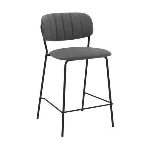 """Armen Living - Carlo 26"""" Counter Height Bar Stool with Black Metal and Grey Faux Leather"""