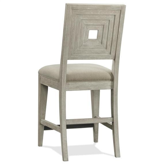 Riverside - Cascade - Upholstered Wood Back Counter Stool - Dovetail Finish