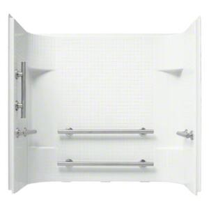 "Accord® 60"" x 30"" x 55"" Tile Wall Set with Grab Bars - White Product Image"