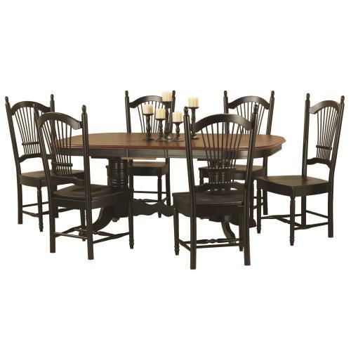 Double Pedestal Trestle Butterfly Leaf Dining Set w/Allenridge Chairs (7 Piece)