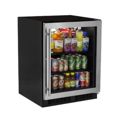 Marvel - 24-In Low Profile Built-In High-Capacity Refrigerator with Door Style - Stainless Steel Frame Glass