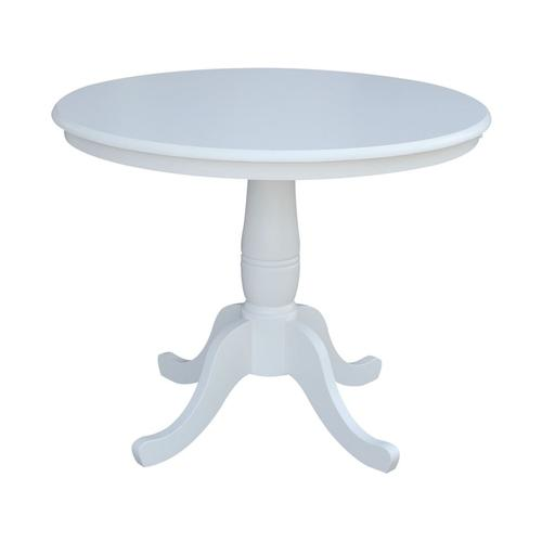 """36"""" Pedestal Table in Pure White"""