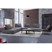 Divani Casa Nolden - Modern Dark Grey Fabric Sectional Sofa