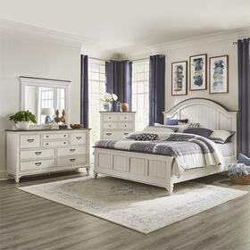 Queen Arched Panel Bed, Dresser & Mirror, Chest