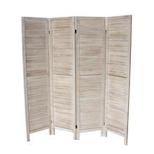7044 NATURAL Rustic Shutter 4-Panel Room Divider