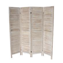 See Details - 7044 NATURAL Rustic Shutter 4-Panel Room Divider