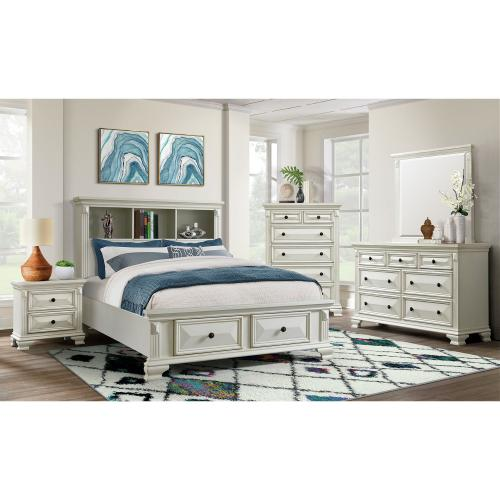 Calloway Full Storage Bookcase Bed with USB in White