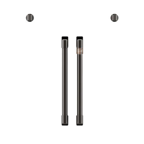 Café 2 French-Door Handles; 2 Knobs - Brushed Black