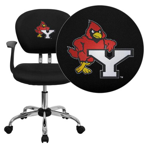 York College Cardinals Embroidered Black Mesh Task Chair with Arms and Chrome Base