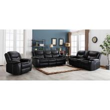 8004 BLACK 3PC Air Leather Power Recliner & USB Sofa SET