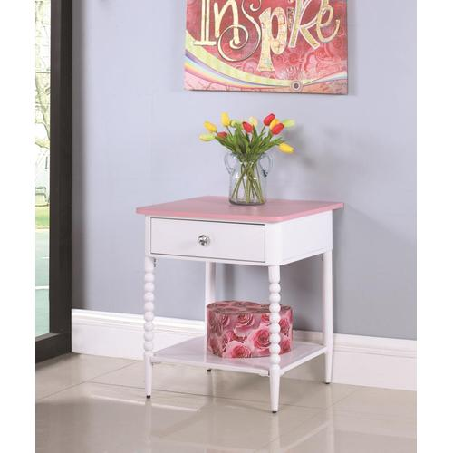Coaster - Nightstand in in pink and white bobbin motif