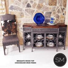 See Details - Bestseller Buffet cabinet - Solid Mesquite Wood top+ Iron Cabinet -1235 B - Dark Rust Brown / Turquoise