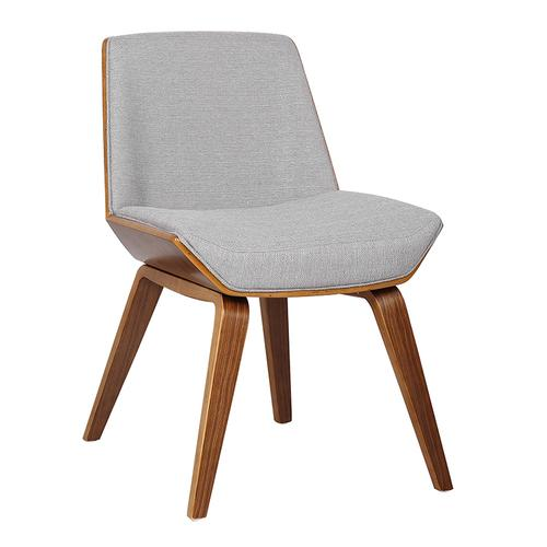 Armen Living - Armen Living Agi Mid-Century Dining Chair in Walnut Wood and Gray Fabric