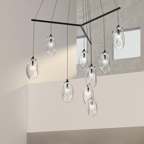 Sonneman - A Way of Light - Liquid LED Pendant [Size=6-Light Standard, Color/Finish=Satin Black w/Poured White Glass, Shape=Tri-Spreader]
