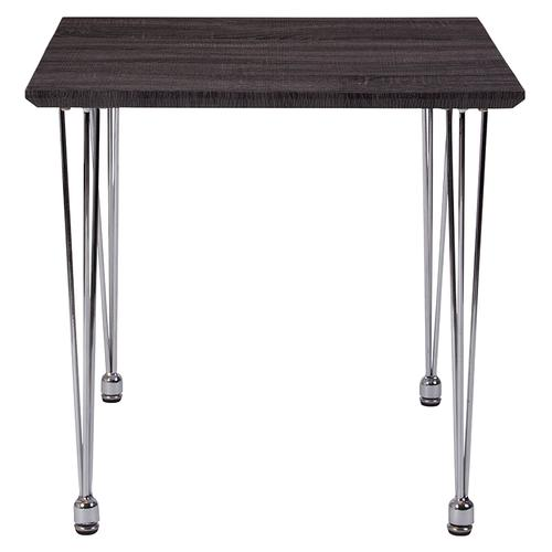Georgetown Collection Charcoal Wood Grain Finish End Table with Chrome Legs