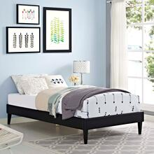 View Product - Tessie Twin Vinyl Bed Frame with Squared Tapered Legs in Black
