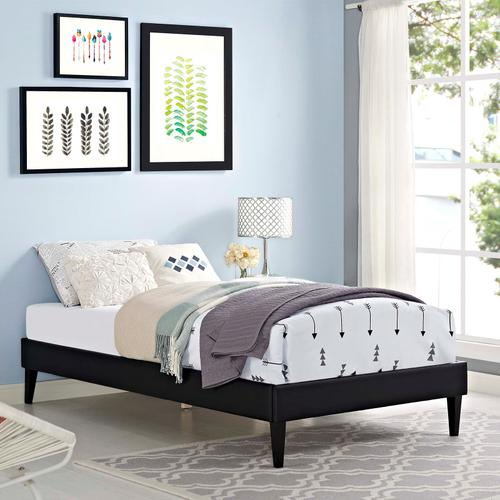 Modway - Tessie Twin Vinyl Bed Frame with Squared Tapered Legs in Black