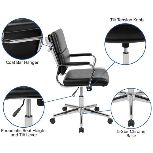 Gallery - 5 Piece Rustic Gray Oval Conference Table Set with 4 Black LeatherSoft Panel Back Executive Chairs