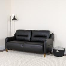 Product Image - Newton Hill Upholstered Bustle Back Sofa in Black LeatherSoft