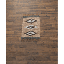 Brown & Blue Diamond Leather Chindi 2' x 3' Rug. Each One Will Vary.