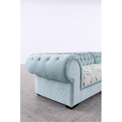 Divani Casa Metropolitan Mini Transitional Light Blue Fabric Sectional & Ottoman