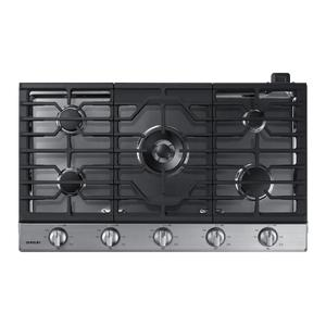 """SAMSUNG36"""" Smart Gas Cooktop with Illuminated Knobs in Stainless Steel"""